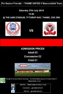 Pre season friendly: Thame United v Beaconsfield Town @ ASM Stadium