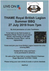 Thame Royal British Legion Summer BBQ @  To be held on John Tomlinson's field on Aylesbury Road, Thame.  As you leave Thame, next turning on left after Wynnstay Country Store/will be signposted.