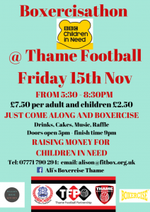 Boxercisathon: Raising money for Children in Need @ Thame Football